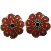 Norwegian David Anderson enamel sterling silver earrings Vintage c1950.