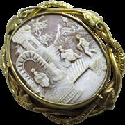 Shell cameo pinchbeck swivel flip brooch pin antique Victorian c1850.