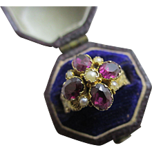Almondine garnet seed pearl 15k gold mourning locket ring antique Victorian c1840 in antique ring box.
