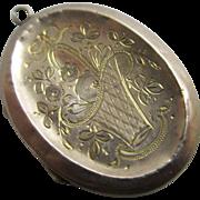 9k gold back & front swallow & basket of flowers double pendant locket antique Edwardian c1910.