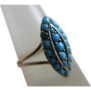 Turquoise 9k gold ring antique Victorian c1890.
