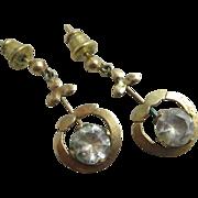 Aquamarine 9k gold dangling ear pendant earrings antique Victorian c1890.