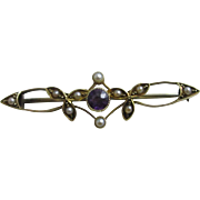 Amethyst seed pearl 15k gold brooch pin antique Victorian c1890.