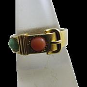 Coral peking glass 15k gold buckle ring antique Victorian 1861 English hallmark.