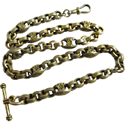 9k rolled gold albert watch chain necklace antique Victorian c1890.