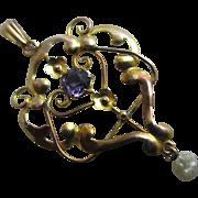 Dangling pearl amethyst paste 9k gold pendant lavalier antique Victorian c1890.