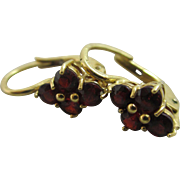 Garnet 18k gold pendant earrings vintage Art Deco c1920.