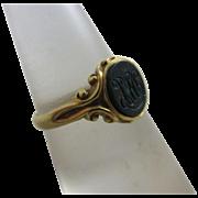 Intaglio bloodstone 18k gold signet ring antique Victorian 1876 English hallmark.