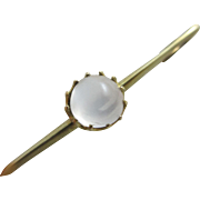 Cabochon moonstone 14k gold brooch pin antique Edwardian c1910.
