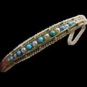 Turquoise pearl 9k gold bangle bracelet antique Victorian c1890.