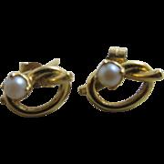 Lovers knot seed pearl 9k gold earrings antique Edwardian c1910.