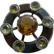 Citrine rock crystal agate sterling silver Scottish brooch pin antique Victorian c1860.