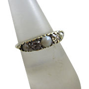 Diamond pearl 18k gold ring antique Victorian c1860.