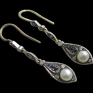 Diamond pearl sapphire spinel 18k gold dangling ear pendant earrings vintage Art Deco c1920.