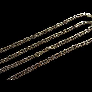 "9k gold chain link necklace 81.0cm / 31.8"" vintage 1983 English hallmark."