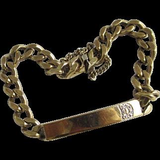Diamond 9k gold chain link tag bracelet vintage 1983 English hallmark.