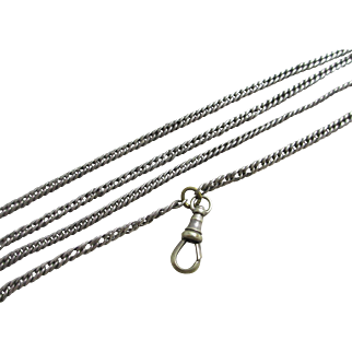 Sterling silver long guard chain link necklace 86cm antique Victorian c1890.