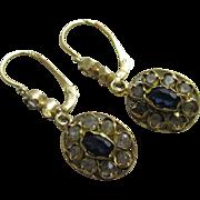 Faux diamond & sapphire 18k gold dangling ear pendant earrings antique Edwardian c1910.