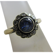 Sapphire diamond 18k gold daisy set ring antique Victorian c1890.