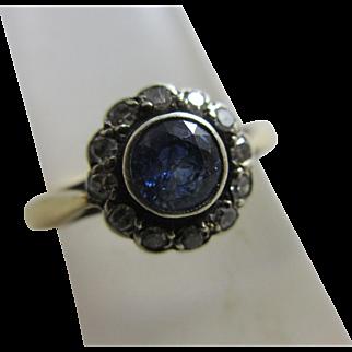 Sapphire diamond 18k gold daisy set ring antique Victorian c1890.