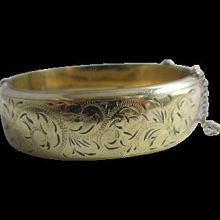 9k gold metal core engraved bangle bracelet vintage Art Deco c1920.