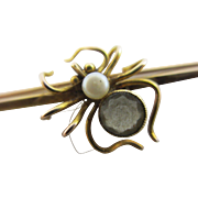 Pearl quartz 9k gold spider brooch pin antique Victorian c1890.