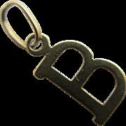 Initial letter ' B' 9k gold pendant charm Vintage c1970.