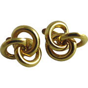 21k gold lovers knot stud earrings vintage c1920 Art Deco.