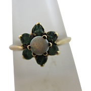 Fiery opal emerald paste 9k gold ring vintage 1976 English hallmark.