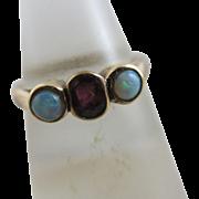 Fiery opal pink tourmaline 9k gold ring antique Edwardian c1910.