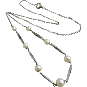 Pearl 9k white gold pendant necklace vintage Art Deco c1930.