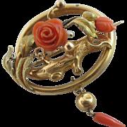 Dangling coral rose flower 15k gold antique Victorian brooch pin c1860.