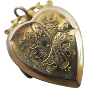 Flower basket heart 9k gold back & front double pendant locket antique Edwardian c1900.