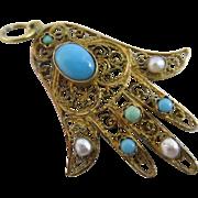 Turquoise pearl 18k gold hand fatima pendant vintage Art Deco c1920.