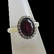 Diamond garnet 9k gold ring vintage 2005 English hallmark.