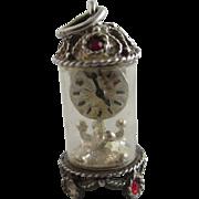 Nuvo sterling silver paste mantle clock pendant charm vintage c1960.
