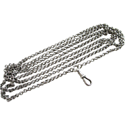 "Sterling silver long guard chain link necklace 136.0cm / 53.5"" antique Victorian c1860."