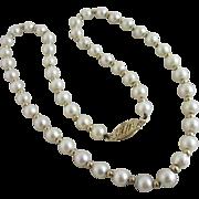 Pearl 9k gold necklace vintage Art Deco c1920.