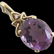Alexandrite diamond 9k gold pendant vintage c1980 English hallmark.