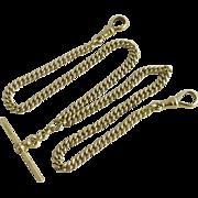 18k gold double albert watch chain necklace vintage 1920 Art Deco English hallmark.