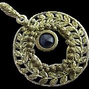 Sapphire 14k gold dangling pendant lavalier antique Edwardian c1910.