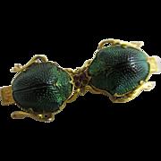 Scarab beetle ruby spinel eyes 18k gold vintage Egyptian Revival brooch pin Art Deco c1920.