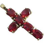Ruby 9k gold cross pendant vintage 2006 English hallmark.