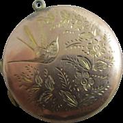 Aesthetic flying swallow bird 9k gold back & front double locket pendant antique Edwardian c1910.
