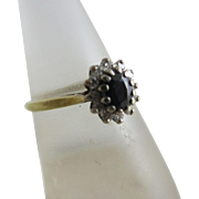 Sapphire spinel diamond 18k gold ring vintage 1985 English hallmark.