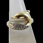 Dolphin faux diamond 9k gold ring vintage 2000 English hallmark.