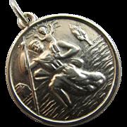 St Christopher 9k gold pendant charm vintage 1966 English hallmark.