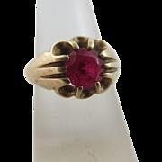 Ruby 9k gold ring Vintage c1950.