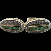 Emerald diamond 9k gold stud earrings Vintage c1980.