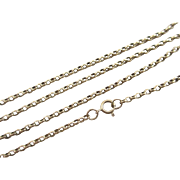 "9k gold chain link necklace 77.0 cm / 30.3"" vintage 1973 English hallmark."